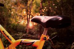 Closeup of saddle on a mountain bike Stock Images