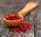 Closeup of Saffron. On natural surface Royalty Free Stock Images