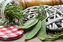 Closeup of sage and rosemary. Leaves in a jar Stock Photo