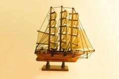 Closeup, Sailboat model on a white background stock photo