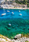 Closeup for sailboats in Anthony Quinn sea bay Royalty Free Stock Photo