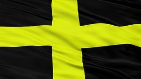 Closeup Saint David city flag, UK. Saint David closeup flag, city of UK, realistic animation seamless loop - 10 seconds long stock footage