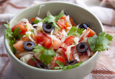 Closeup of salad. With olives Royalty Free Stock Images