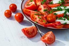 Closeup of salad with tomato and mozzarella Stock Photo
