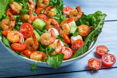 Closeup of salad with vegetables and shrimp Stock Photo