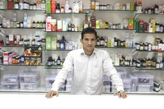 Closeup of a salesman of a medical store Royalty Free Stock Images