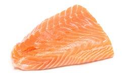 Closeup of salmon steak on white background Stock Image