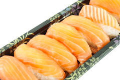 Closeup of salmon sushi Stock Photos