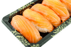 Closeup of salmon sushi Stock Photography