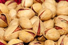 Closeup of salted pistachio nuts. Royalty Free Stock Photos