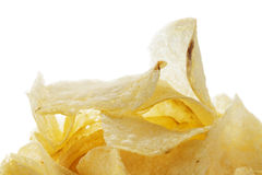 Closeup of salted potato chips Royalty Free Stock Images