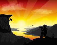 A man is taking a photograph of two mountaineer on a glory day, get succession from great effort. stock illustration