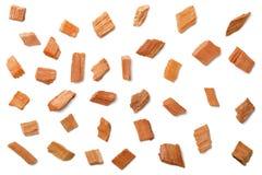 Closeup of sandalwood isolated on white, top view. Close up of sandalwood isolated on white Stock Photo