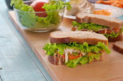 Closeup sandwich with chicken Stock Image