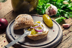 Closeup of sandwich with gherkin and lard Stock Image