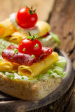 Closeup of sandwich with salami, tomato, chive and lettuce stock photos