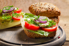 Closeup of sandwich with tomato, onion and lettuce Royalty Free Stock Photos