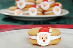 Closeup santa face cookie Royalty Free Stock Images