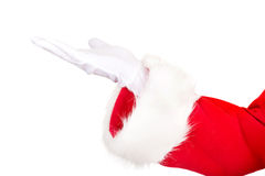 Closeup on Santa hand holding a copyspace Stock Images