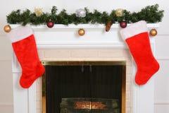 Closeup santa stockings on fireplace Royalty Free Stock Images