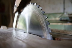 Closeup of saw. Closeup of part from sharp saw machine Stock Image
