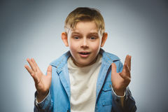 Closeup Scared and shocked little boys. Human emotion face expression Royalty Free Stock Photos