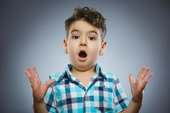 Closeup Scared and shocked little boys. Human emotion face expression Stock Image
