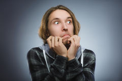Closeup Scared and shocked little boys. Human emotion face expression Stock Photography