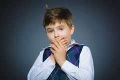 Closeup Scared and shocked little boys. Human emotion face expression Stock Photos