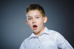 Closeup Scared and shocked little boys. Human emotion face expression royalty free stock photography