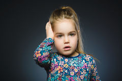 Closeup Scared and shocked little girl. Human emotion face expression stock images