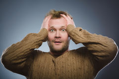 Closeup Scared and shocked man. Human emotion face expression Royalty Free Stock Photography