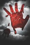 Closeup Of Scary Bloody Hand Print On Glass Royalty Free Stock Photography