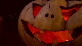 Closeup of scary halloween carved glowing pumpkins stock footage