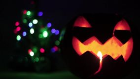 Closeup of scary holiday halloween carved glowing pumpkins. and Christmas tree. Flashing colored lights. Jack-O-Lantern. Closeup of scary holiday halloween stock video