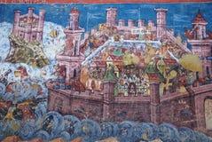 Closeup scene of the exterior fresco, Moldovita. Old religious paintings on Moldovita monastery wall, romania, Unesco world heritage. Representation of the stock photos