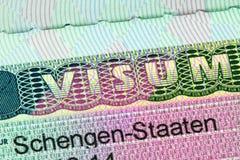 Closeup of the Schengen visa Stock Photography