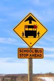 Closeup of a School Bus Stop Ahead Sign Against a Blue Sky.  Stock Photos