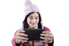 Closeup of schoolgirl taking self picture Stock Image