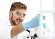 Closeup.a scientist doing experiments in the laboratory. Photo with copy space Stock Photo