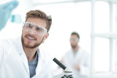 Closeup.a scientist doing experiments in the laboratory. Photo with copy space Stock Image