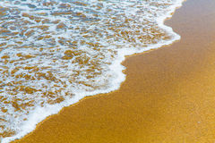 Closeup of sea foam on wet golden sand with copy space Stock Photos