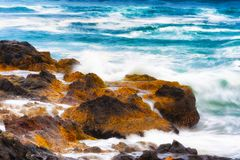 Closeup of sea water flowing over rocky shore Stock Images