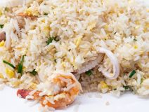 Closeup of the seafood fried rice. Stock Photo
