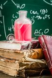 Search for the elixir of using chemistry in school laboratory. Closeup of search for the elixir of using chemistry in school laboratory royalty free stock photography