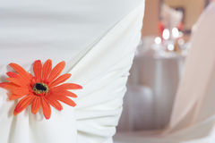 Closeup of seat back covering for a wedding Stock Photos
