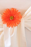 Closeup of seat back covering for a wedding. A closeup of an orange daisy designed into the seat covering for a wedding, surrounded by fabric Royalty Free Stock Image