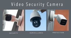 Security cameras of security - collage with text. Closeup of security cameras of security - collage with text stock photo
