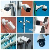 Security cameras of security - collage. Closeup of security cameras of security - collage stock images