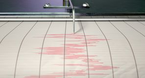 Seismograph Earthquake Activity. A closeup of a seismograph machine needle drawing a red line on graph paper depicting seismic and eartquake activity - 3D render Stock Image